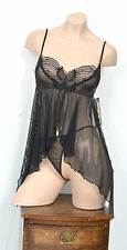 AMAZING BLACK SEQUINNED BUTTERFLY BABYDOLL G-STRING HONEYMOON SET S M L VACARI
