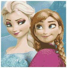 Elsa And Anna 14 Count Cross Stitch Chart / Kit