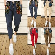 Men's Jooging Harem Pencil Pants Korea Printed Casual Feet Trousers Slacks Linen