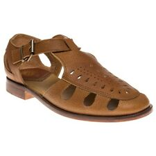 New Womens H by Hudson Tan Sherbert Leather Sandals Flats Buckle