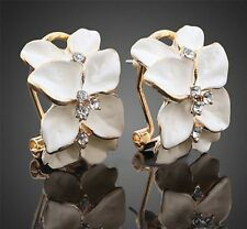 Women Lady New Gardenia Flower Crystal Ear Studs Rhinestone Earrings Hoop Buckle