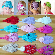 New Infant Baby Toddler Feather Flower Diamond Soft Headband Headwear Hair Band