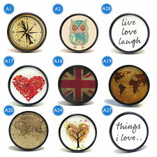 Vintage world map love tree compass owl drawer door cupboard knob handle pulls