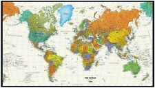 Colorful Contemporary World Map Laminated Wall Map