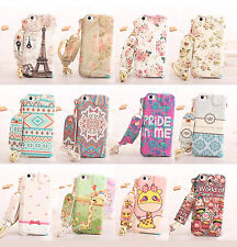 Cute Cartoon Neck Rope Leather Pouch Pocket Wallet Case Cover For iPhone 5 5s 5c