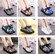Women Lace up Floral Lacing Punk Goth High Platform Skull Flat Creeper Shoes S25