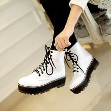 Fashion Womens lace-up platform shoes Pull on Roman motorcycle boots Plus Size
