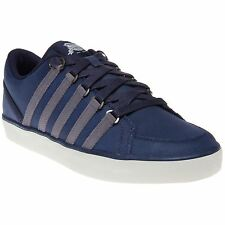 New Mens K-Swiss Blue Gowmet Leather Trainers Tennis Style Lace Up