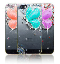 Bling Diamond Butterfly Fitted Hard Back Clear Case Cover Apple Samsung Phones