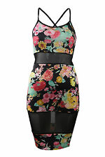 Ladies Women Mesh Cut Out Dress Floral Bodycon Cross Over Back Detail size 8-14