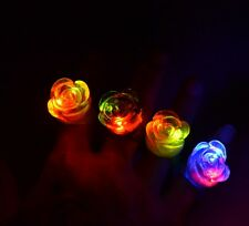 LED Flashing Light Up Flower Jelly Rings Party Rave Fashion Favors EDC - USA