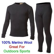 Men 100% Merino Wool Outdoors Sports Base Layer Thermal Warm Underwear Clothes