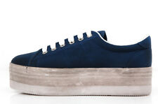 Jeffrey Campbell Play Zomg Washed Canvas Blue - Platform Sneakers in tela blu