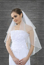 2 Layer Bridal Elbow Length Veil on Comb Pencil Edge with Beads and Pearls VR-12