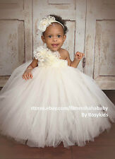 ivory Vintage flower girl tutu dress baby tutu dress Wedding photograph Pageant