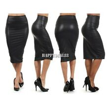 WOMEN FAUX LEATHER PENCIL SKIRT High Waist Sexy Wet-Look Tight Midi Dress HD23L