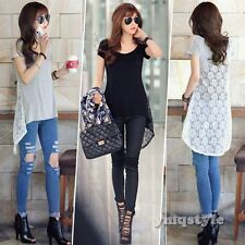 Korean Women Ladies Boat Neck Backless Lace Summer Casual Blouse T-Shirt Top Tee