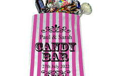 PERSONALISED Sweet Bags For Wedding Candy Bar Sweet Buffet Pink & White Striped