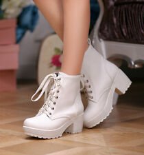 Fashion gothic Women chunky Heel round toes lace-up block Ankle punk boots shoes
