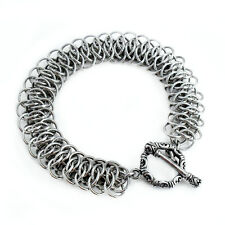 Handcrafted Stainless Steel Viperscale Chain Bracelet - Silver Tone Mail Maille