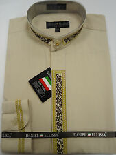 Mens Nehru Collarless Banded Collar Beige Gold Thread Dress Shirt DS3111C