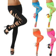 Latest Sexy Hole Leggings Fluorescent Candy Color Uniform Cracking Nine Pants