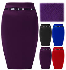 Womens Belted Midi Ladies Stretch Textured Pencil Skirt Plus Sizes 8-20