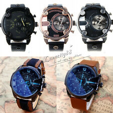 New Fashion Original 3 BAR Stainless Steel Dial Leather Band Mens Wrist Watch
