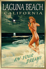 LAGUNA BEACH CALIFORNIA New Original Travel Poster Marilyn Pin Up Art Print 171a