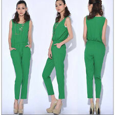 Womens Chiffon Sleeveless Pocket Bodycon Slim Jumpsuits Casual Rompers Long Pant