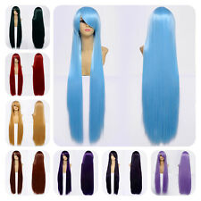 Long 100cm Straight Cosplay Party Stylish Women Anime Hair Full Wig 9 Colors