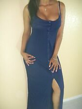SEXY NAVY BLUE V NECK CLEAVAGE BUTTON DOWN COVER UP SLIT LONG MAXI DRESS DR107
