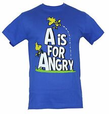 "Peanuts Mens T-Shirt - ""A is for Angry"" 2 Woodstocks Playing On Logo Image  Blue"