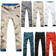 PODOM Mens Slim Casual Cargo Work Chino Pant Skinny Straight Long Trousers Jeans