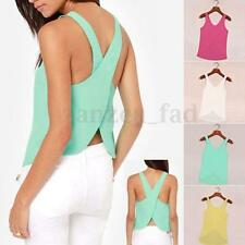 NEW Summer Women's Sheer sleeveless shirt chiffon Blouse Tops Vest Plus Size S-X