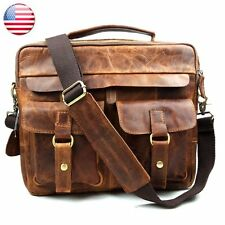 Man Genuine Italian Leather  Briefcase Shoulder Messenger Bookbag Document Bag
