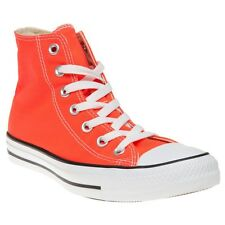 New Boys Converse Orange All Star Hi Canvas Trainers Lace Up