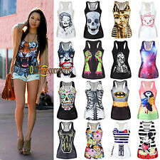 Womens Print Tank Top Vest Blouse Tee Party Costume T-Shirt Camisole Sweatshirt