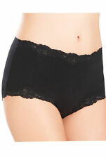 Ex M&S White/Black Cotton Stretch High Rise Floral Lace Border Shorts Knickers