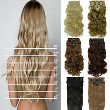 8Pcs Long Curly Wavy Straight Full head clip in on hair extensions 18 clips tota