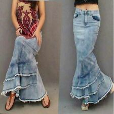 Sexy Womens Packaged Long Cocktail Dress Lady Denim Buttocks Skinny Frayed Skirt