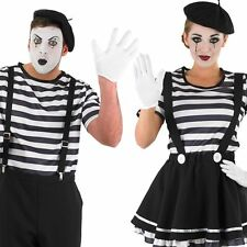 Mime Artist Costume – Mens Womens Circus Mime Fancy Dress Carnival Outfit