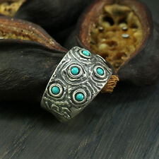 Sterling Silver Turquoise Gemstone Band Ring Size 6 7 8 Artisan Jewelry R007TR