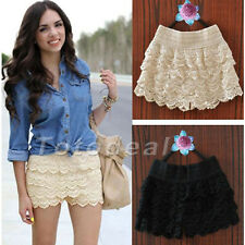 Fashion beauty ladies womens Sweet Cute Crochet Tiered Lace Shorts Skorts Pants