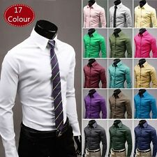 New 17 Color Fashion Mens Slim Fit Long Sleeve Casual Dress Shirts 5 Size