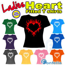 New Ladies Heart / Flames Fitted T Shirt - Girl Woman Top Love 100% Satisfaction