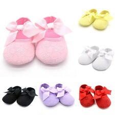 Infant Girl Ribbon Bowknot Soft Bottom Cotton Shoes Kids White Flowers Prewalker