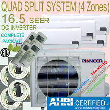 QUAD Multi Split 4 Zone PIONEER 16 SEER INVERTER Mini Split Ductless Heat Pump