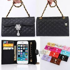 Luxury Deluxe Grid Bling Crystal Wallet Flip Handy Chain PU Leather Case Cover