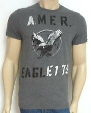 American Eagle Outfitters AEO Mens 1-79 Gray Heather T-Shirt Double Logo NWT